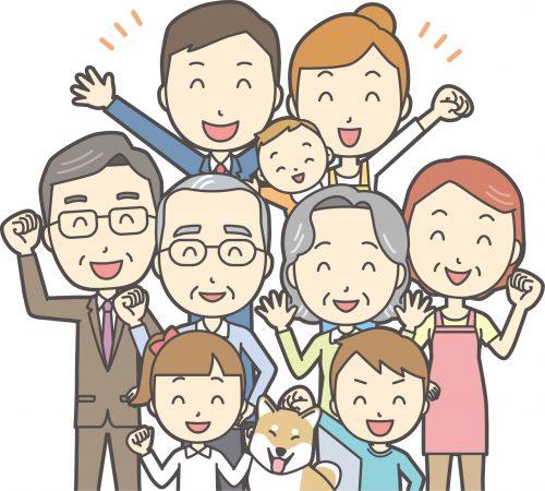 家族イラスト 3世代